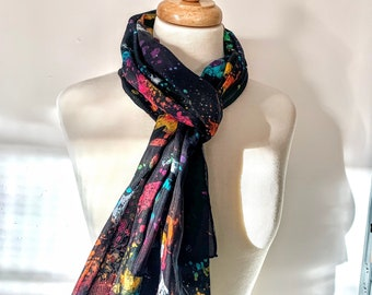 Happy Paint Accident Hand Painted Textured Silk Scarf [Long]