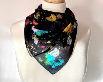 Happy Paint Accident Hand Painted Textured Silk Scarf [Square]