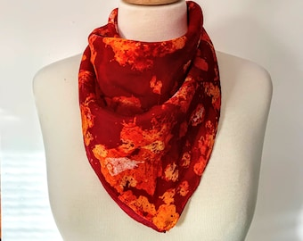 Volcano Hand Painted Textured Silk Scarf [Square]