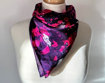 Beetroot Party Hand Painted Textured Silk Scarf [Square]