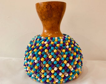 Blue, Purple & Yellow Polka Shekere