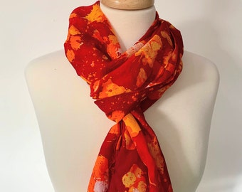 Volcano Hand Painted Textured Silk Scarf [Long]