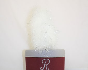 Vintage Marching Band Burgandy and Silver Hat with White Plume