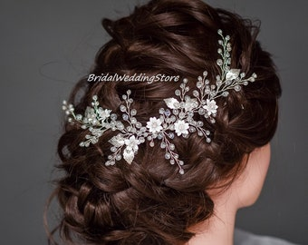 Bridal hair vine silver Bridal Headband Silver Leaf Hair Vine Rhinestone headband Wedding Hair Accessory Hair Crown Crystal hair vine Floral