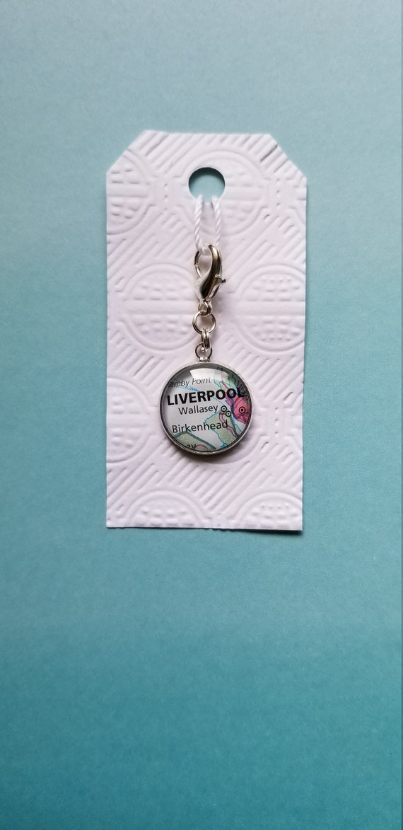 Liverpool, England Map Charm created with a vintage map | Planner Charm |  Planner Accessory | Bracelet Charm | Zipper pull