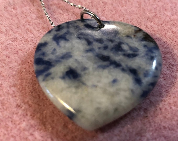 Sodalite Heart  Pendant on 9.25 Sterling Silver 17 inchain