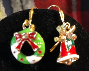 Christmas Mismatched Wreath and Bell Earrings on gold plated Leverback