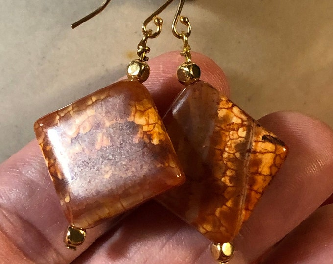Fire Red Crackle Agate Tilted Square on Gold Filled Fish Hook earring wire