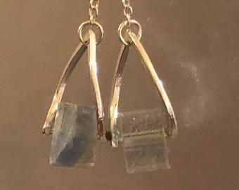 Rainbow Fluorite swing earrings on sterling silver earring wires