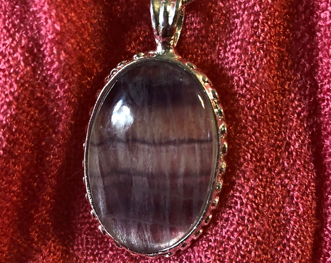 Fluorite Silver Pendant Bead on Sterling Silver snake chain 16in, 18in, 30in Mothers day Handmade Gemstone