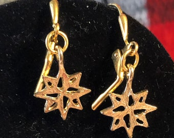 Snowflake earrings on Gold Plated leverbacks
