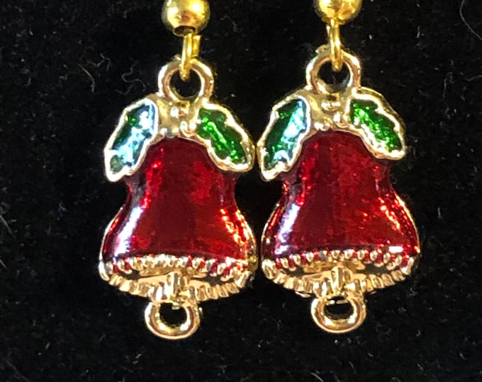 Red Green Christmas bell earrings with gold plated earring wires enameled