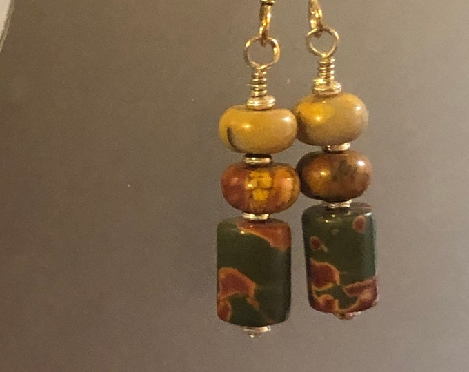Red Creek Jasper tube earrings on sterling silver earring wires Natural Beautiful