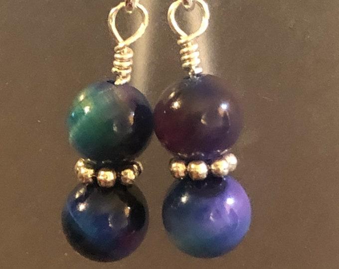 Rainbow Tigers Eye earrings on sterling silver earring wires Spiritual healing stunning!!!