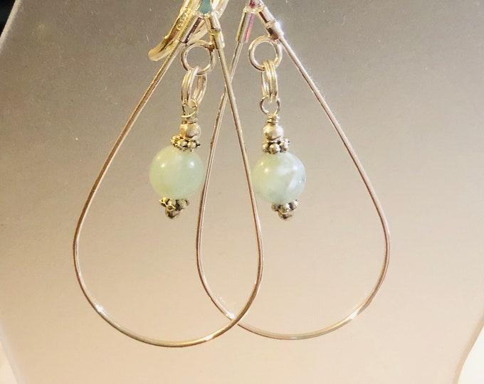 6mm Natural Green MOONSTONE gemstone earrings on sterling silver Leverback teardrop spiritual healing