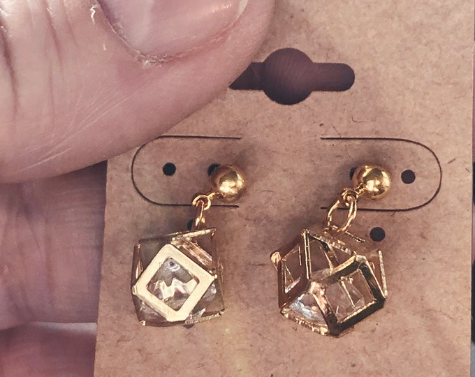 Polygon Jesse James Gold 9mm Cage with Crystal Earrings