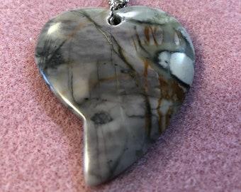 Artistic Jasper Heart Pendant on 20inch Stainless Steel Figaro chain