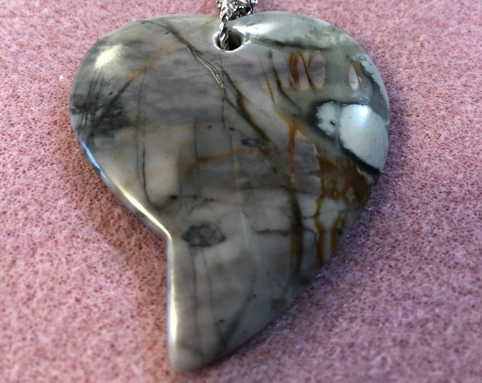 Artistic Jasper Heart Pendant on 20inch Stainless Steel Figaro chain