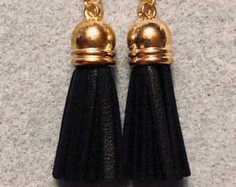 Gold tassel drop dangle earrings Jesse James beads