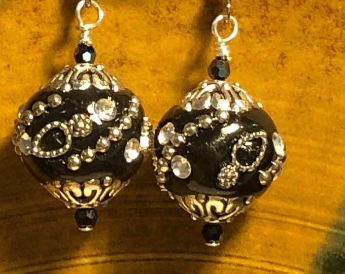 Beautiful Black and silver rhinestone Boho bead and crystal earrings Handmade Jesse James Boho Beads on silver plated earring wires