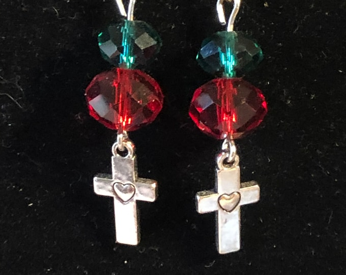 Cross Red Green crystal earrings with silver earring wires Christmas heart