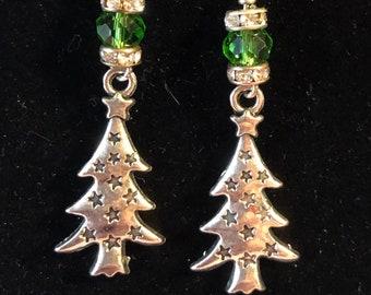 Christmas Tree Earrings pewter Jesse james crystal rhinestone rondelles
