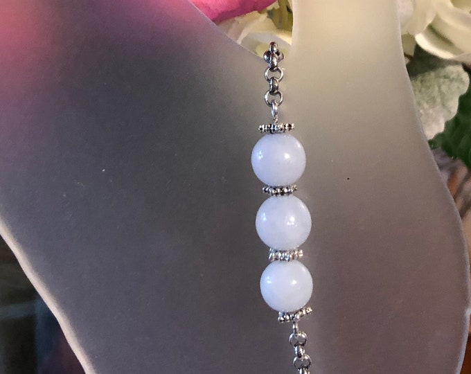 8mm round Aquamarine on stainless steel chain Rolo chain with button clasp bracelet made to order