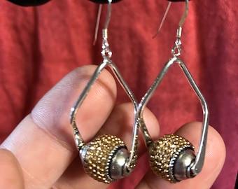 Silver and Gold Jesse James Metallic Bead dangle earrings