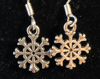 Christmas 5mm Snowflake Earrings on Children Sterling Silver earring wire