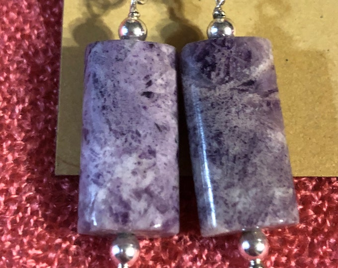 Beautiful Tiffany stone rectangular tube earrings on stamped 9.25 Sterling Silver  fish hooks