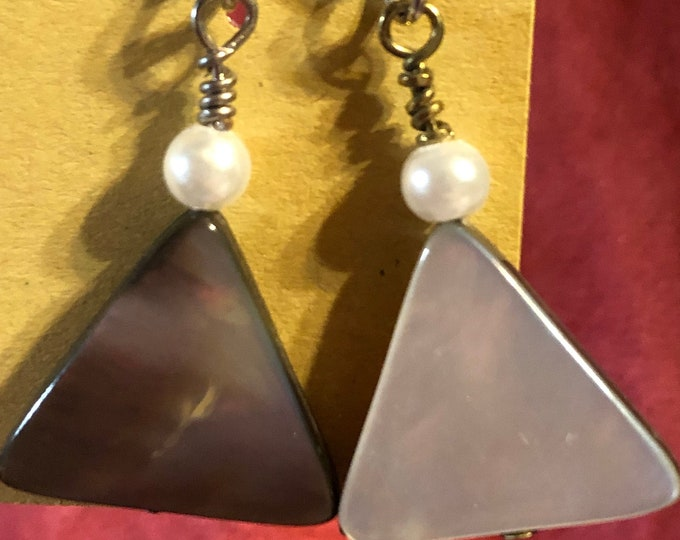 Triangle shell and glass pearl earrings on silver earring wire