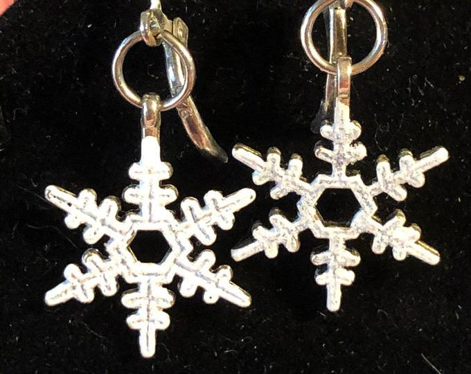 White Sparkling Snowflake  Christmas Holiday earrings on SS Leverbacks