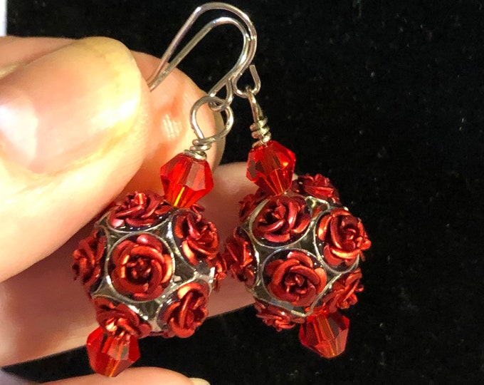 Deep Red Rose Clusters Swarovski Crystal 6mm bicone  earrings made with Jesse James beads