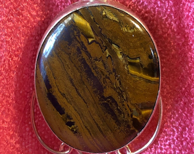 Tigers Eye Pendant on Handcrafted 9.25 stamped on Sterling  snake chain 16in, 18in, 30in  Mothers day Handmade Gemstone