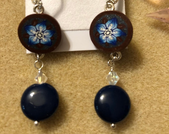 Blue Resin Flower and Polymer clay hand painted coin bead Jesse James Boho Sterling silver earring wireearrings