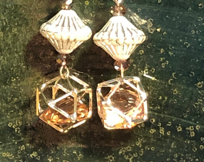 Peach crystal cage bead and top shaped textured bead Boho by Jesse James Beads on silver plate earring wires