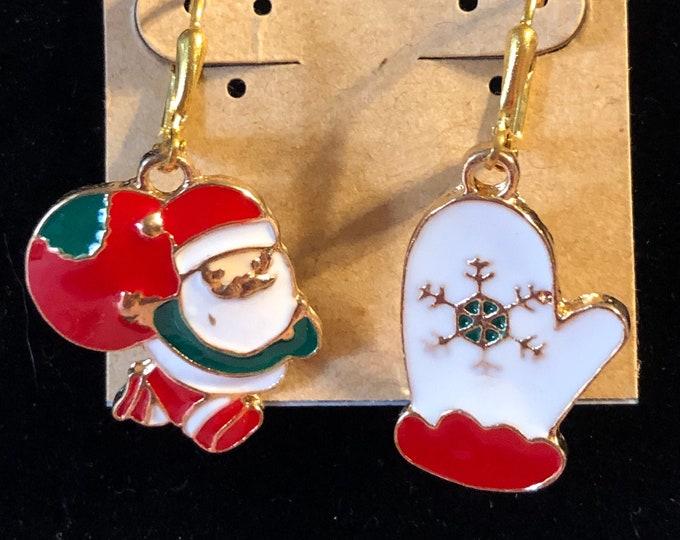 Enamel Mismatched Santa Mitten earrings on Gold Plated earring wire