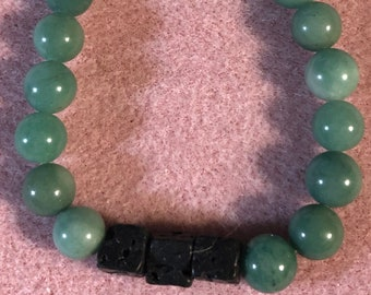 Mens 10mm Green Kyanite and Lava Infusion Stretch Bracelet  7in-8in wrist Handmade Gemstone Rare