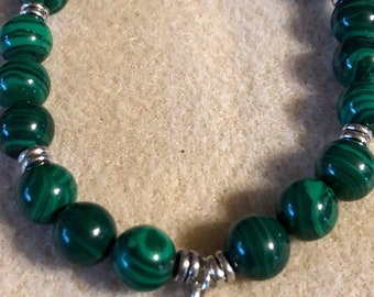 Malachite Beaded Stretch Bracelet and Tibetan Silver made to order