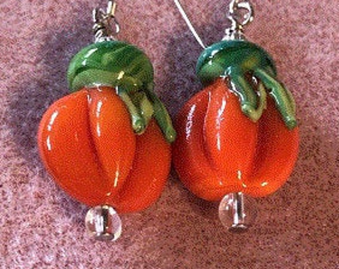 Pumpkin Handmade glass earrings Fall Halloween Thanksgiving on 925 SS earring wires