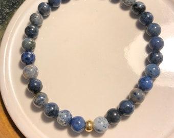 6mm Genuine South Africa Dumortierite Stretch Bracelet Spiritually Enhancing handmade to order