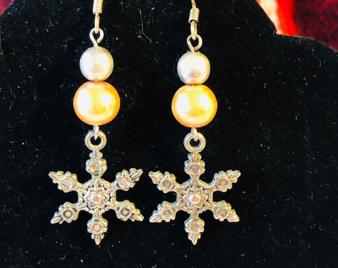 Christmas Silver and Gold pearl Earrings with Snowflake Charms on surgical steel earring wires