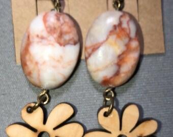 Genuine Red Veined Jasper Wooden Flower bead Earrings in Antique brass leverbacks