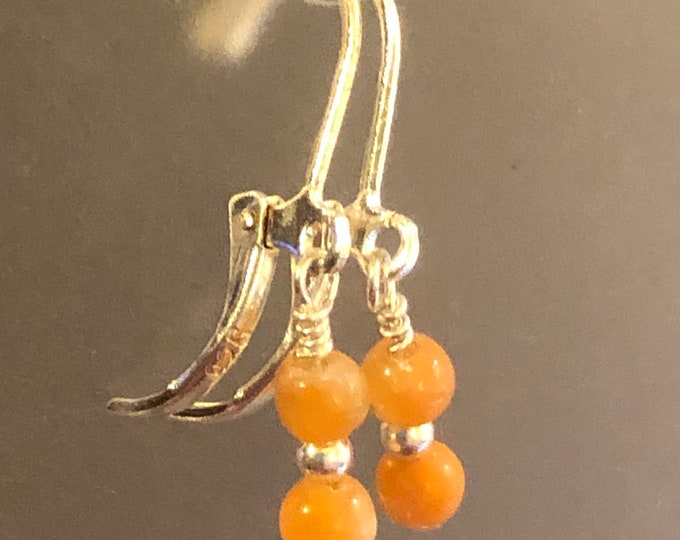 4mm Natural Orange Calcite gemstone earrings on sterling silver Lever back earring wires Spiritual healing