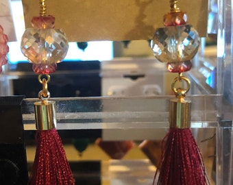 Beautiful Disco ball crystals Maroon Tassels and Maroon drux beaded earrings Jesse James beads on Gold plated Leverback earring wire