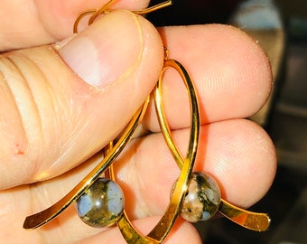 Natural 8mm Blue and brown Opal swing bail earrings 14kt Gold Filled Fishhook earring wire spiritual healing
