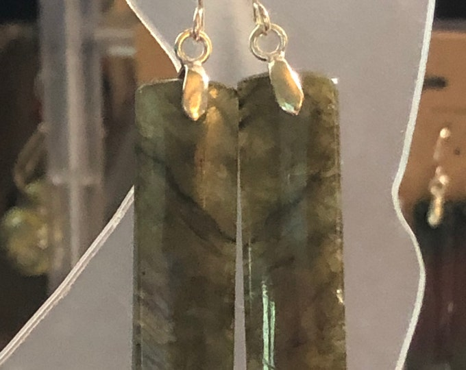 Natural Blue Labradorite Polished Rectangle 40mm x 9mm x 4mm Earring Pair on Sterling Silver fish hook Healing Properties