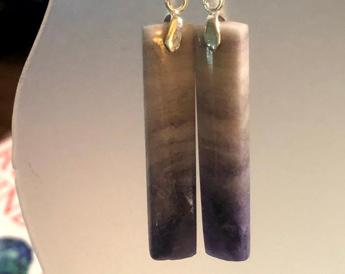 Natural Purple Opal Earring Pair Rectangle Earrings on Sterling Silver fish hook Healing Properties 40mm x 8mm x 3.5mm