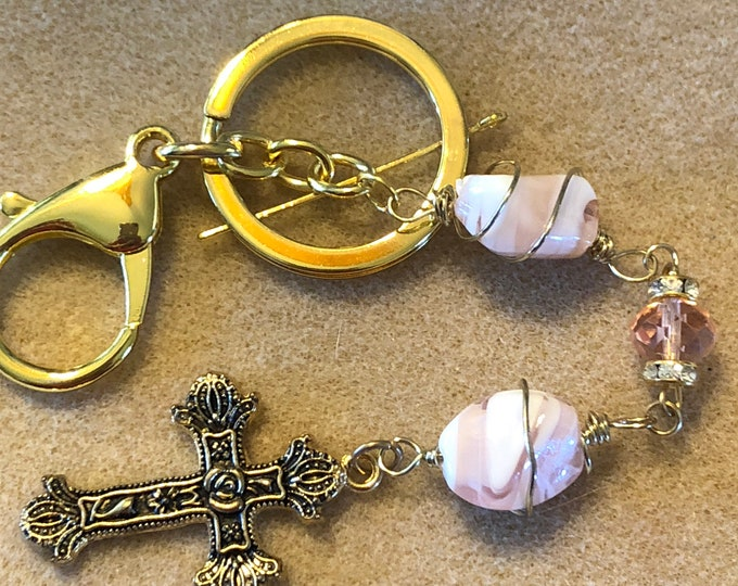 Pink crystal gold wire wrapped stone and Cross Keychain purse charm