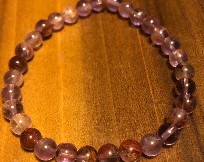 6mm Natural Auralite 23, Cacoxenite Amethyst Quartz Grade AAA Purple Round Stretch bracelet Genuine Natural Gemstone